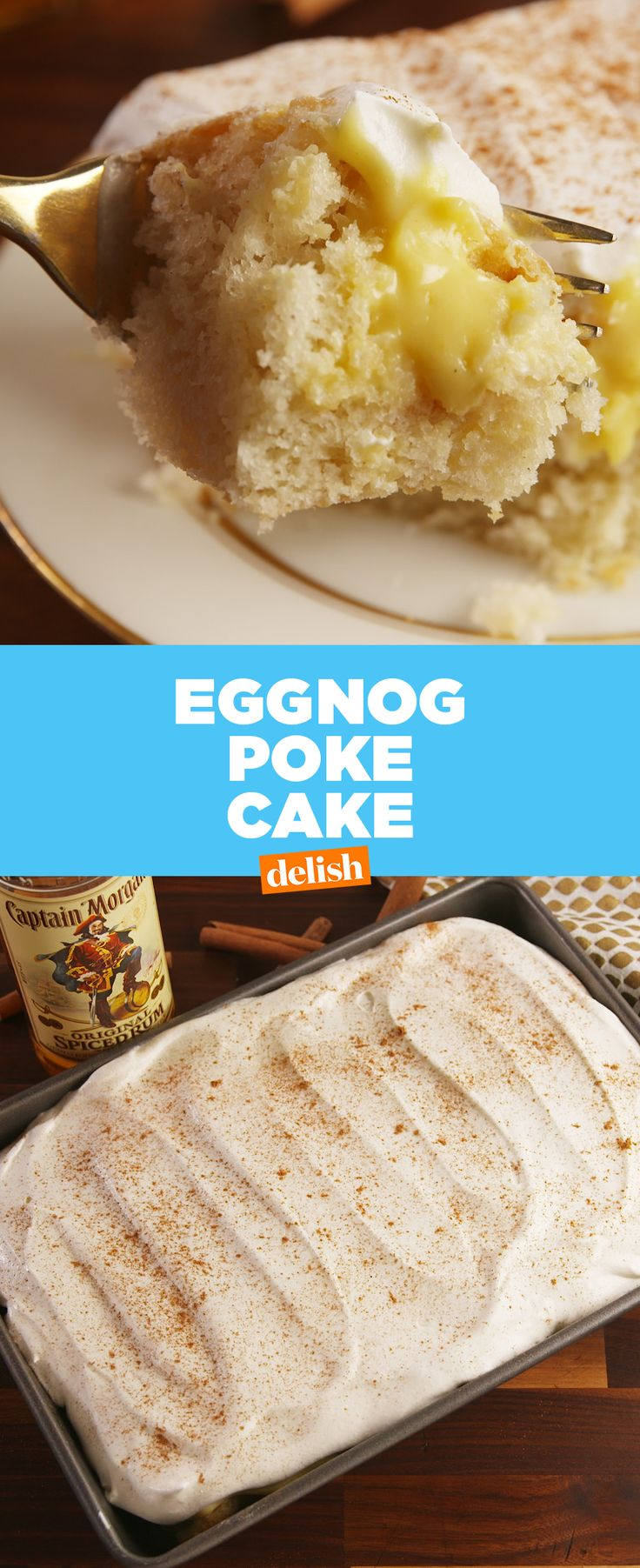 Even Eggnog haters will love this boozy poke cake.