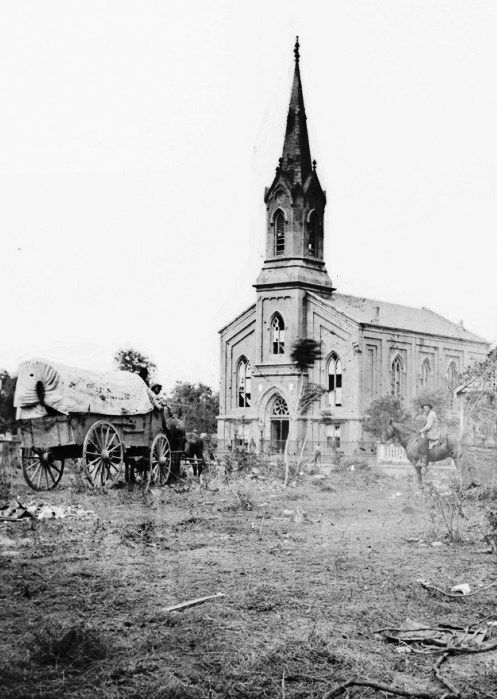 The Baptist Church in Fredericksburg, Virginia [Detail], photographed from the backyard of the Sanitary Commission depot on May 20, 1864, after the city had been damaged in two different major battles of the war. (James Gardner/LOC)