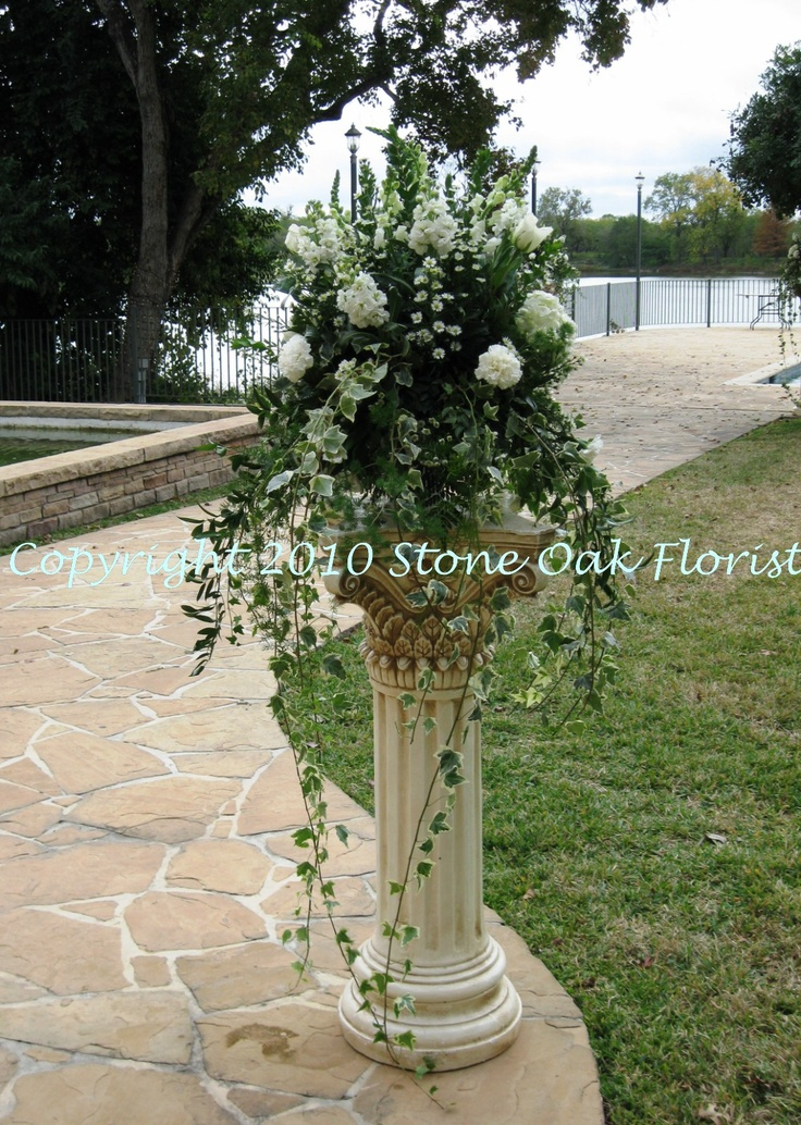 Pedestal Arrangement All White Flowers With Cascading