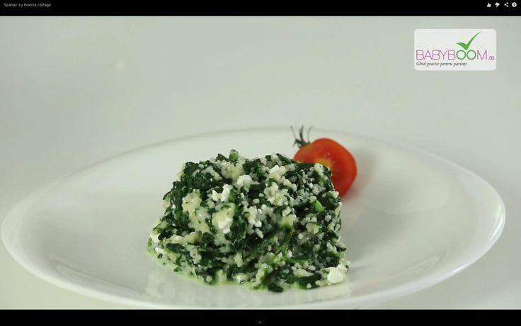 Spanac cu brânză cottage. Reţeta o puteţi găsi aici în format text dar şi video: http://www.babyboom.ro/spanac-cu-branza-cottage/