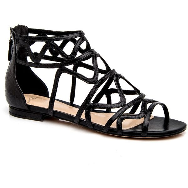 Black New Melody Flat Sandal ($690) ❤ liked on Polyvore featuring shoes, sandals, flats, flat heel shoes, flats sandals, black shoes, flat sandals and flat shoes