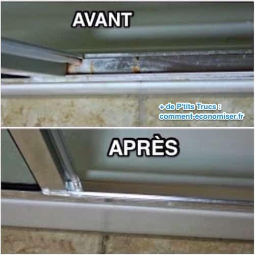 Avant et après du nettoyage des rails de douche métalliques