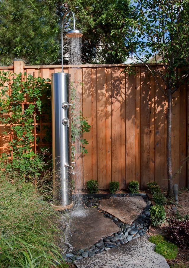 Stahl Garten Dusche Ausstattung Fur Den Pool Bereich Gestalten Ideen Moderne Landschaftsgestaltung Gartendusche Kleine Strandhauser