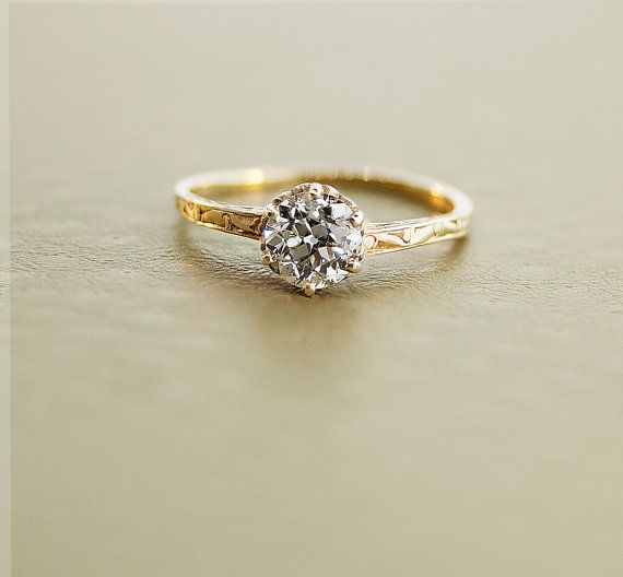 Antique Diamond Ring  14k Yellow Gold Diamond by SITFineJewelry, $6350.00