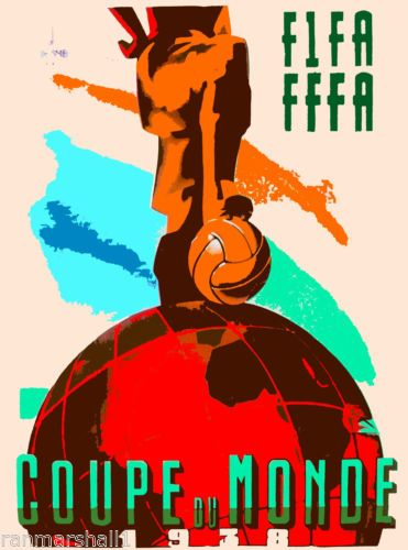 1938-FIFA-World-Cup-Soccer-Paris-France-Sports-Travel-Advertisement-Poster