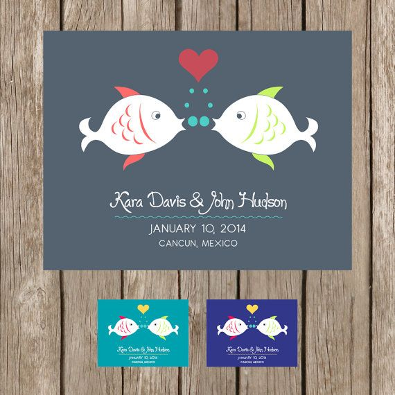 FISH KISS Save the Date  DEPOSIT by ThePaperProposal on Etsy, $15.00
