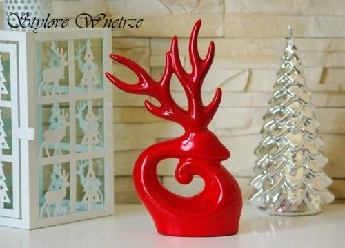 Świąteczna Figurka Renifer Czerwony