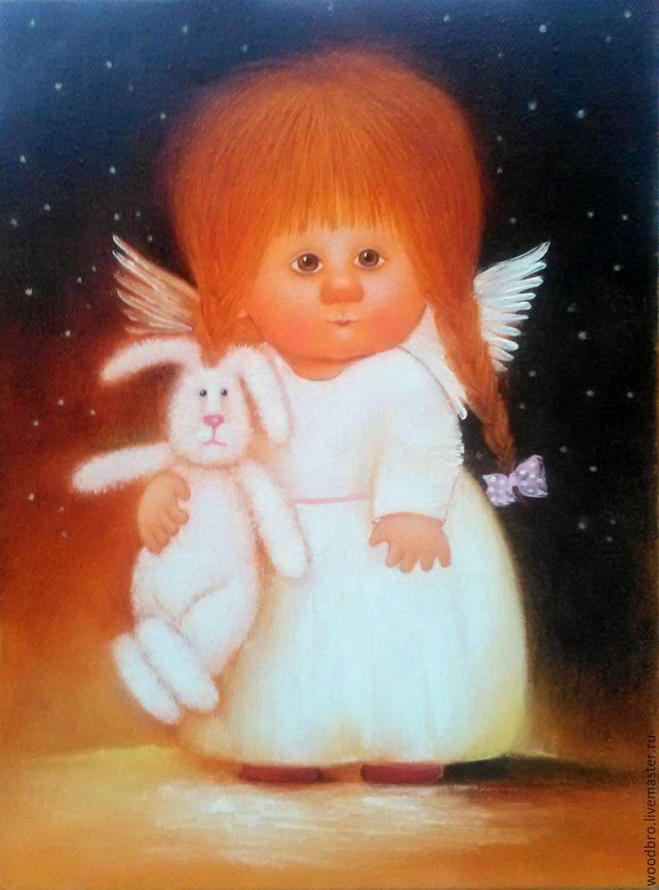 Купить Ангел с зайкой - картина маслом - ангел с зайкой, солнечные ангелы, картина в подарок, ангелы
