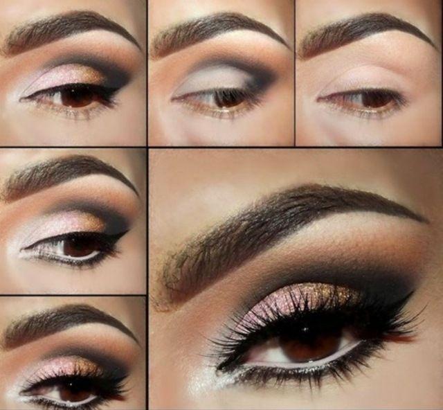 dunkle Augen schminken Augenbrauen formen