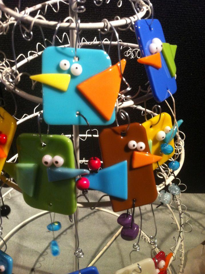 Fused glass crazy birds!