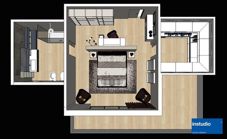 progettazione camera padronale con zona toilette separata dal letto mediante setto divisorio. Ai lati della stanza bagno padronale e cabina armadio. www.instudio-design.com
