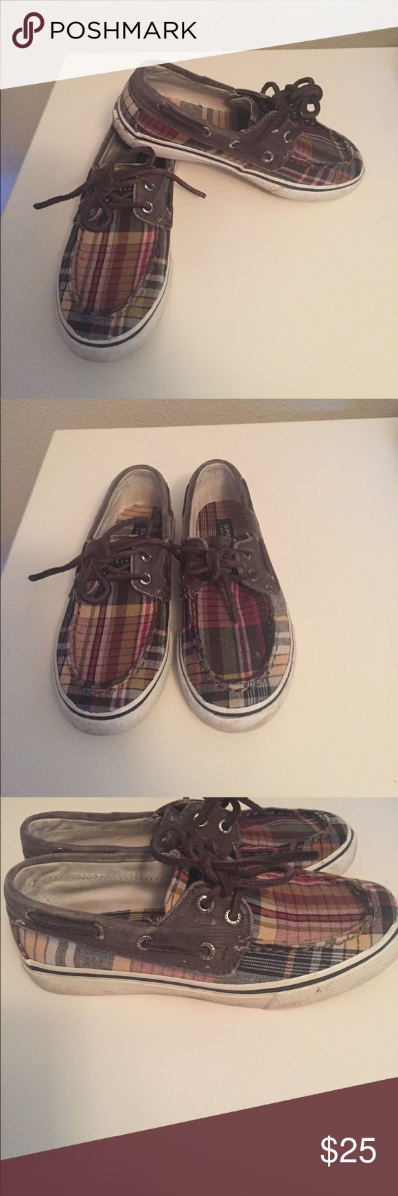Sperrys size 13 Darling pair of plaid sperrys. Worn twice size 13. See pics for exact condition. From clean pet and smoke free home.  Due to the exorbitantly high cost of shipping packages in excess of 5 lbs. I will not be selling or shipping bundles over 5 lbs.  Please ask prior to purchasing if you think your bundle may be over 5 lbs. Sperry Shoes