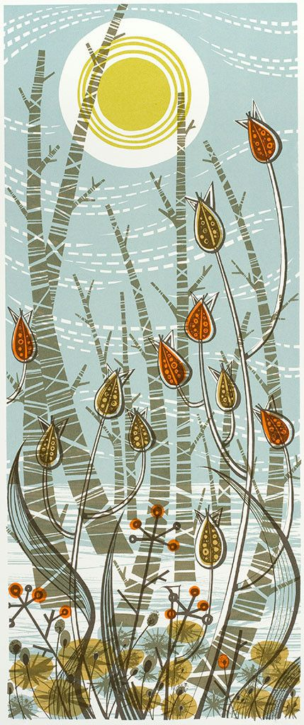 "Angie Lewin ""Winter Birches"" screen print http://www.angielewin.co.uk/collections/sold-out-editions/products/winter-birches"