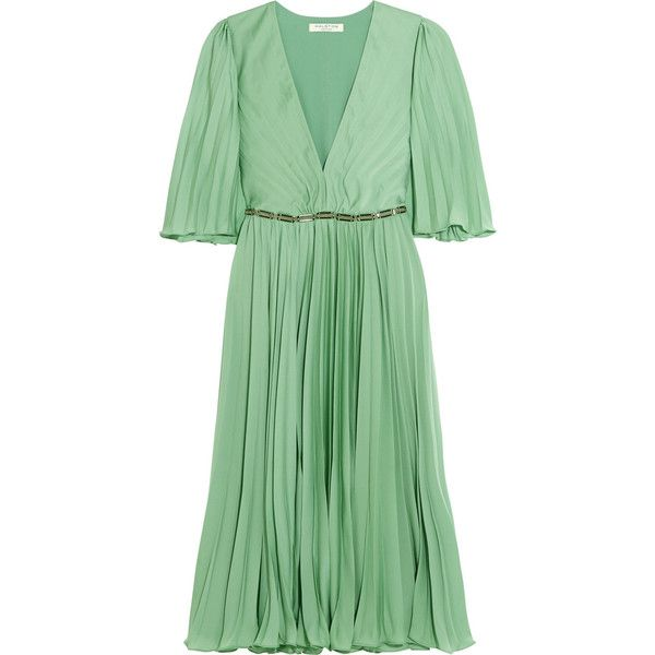 Halston Heritage Cape-back pleated crepe de chine dress ($545) ❤ liked on Polyvore featuring dresses, green, chain dress, plunge neck dress, party dresses, going out dresses and pleated dress
