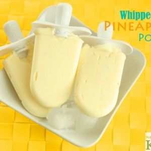 Whipped Pineapple Pops - could do this recipe with any fruit, really. I need to buy popsicle molds for this summer. How much would the kids (and me!) LOVE a fresh, homemade popsicle after playing outside?!