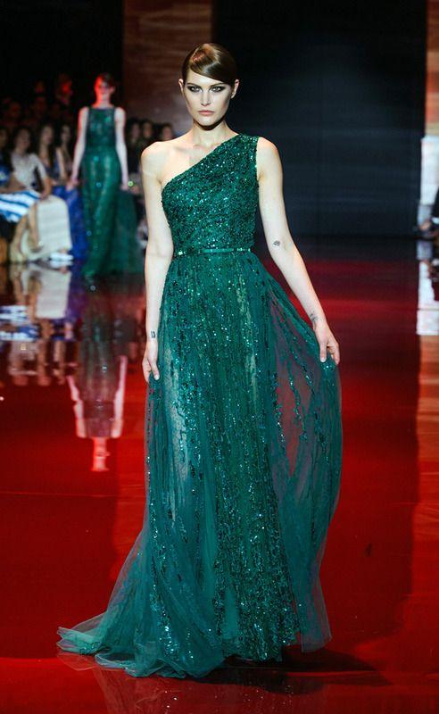 Vestido de fiesta largo verde botella