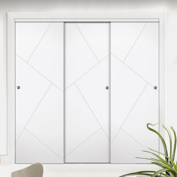 Bespoke Thruslide Suffolk Flush 3 Door Wardrobe And Frame Kit White Primed Pickndecor Com Furniture In 2020 Wardrobe Door Designs Sliding Wardrobe Doors Sliding Door Wardrobe Designs