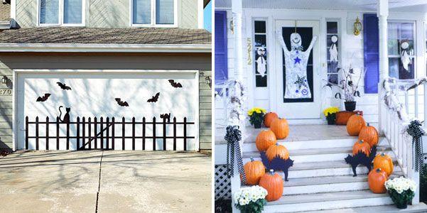 dekorationen halloween außen garage veranda