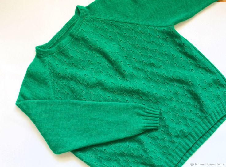 Купить Зеленая вязаная кофта из мериноса с кашемиром оверсайз - коричневый цвет, кашемировая кофта