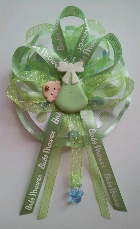 Baby Shower Corsage with baby in swaddle