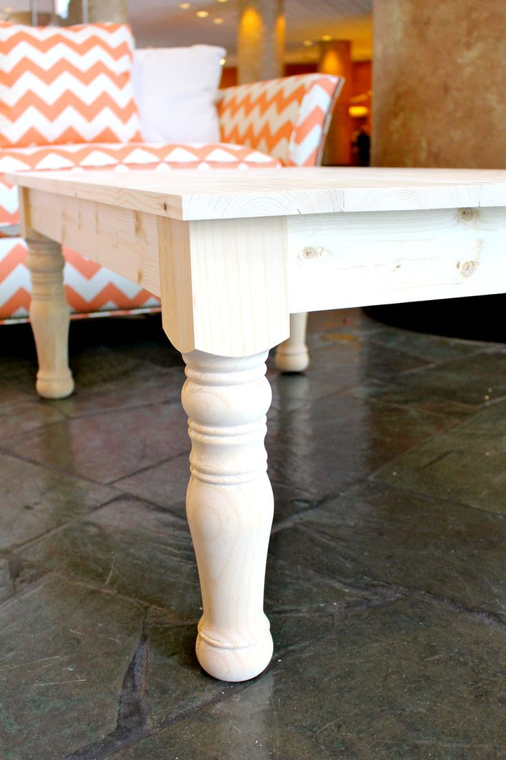 build your own diy coffee table with turned legs and a planked top