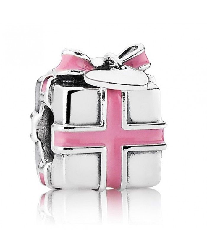 Pandora 2017 Christmas Silver All Wrapped Up Pink Enamel Present Bead