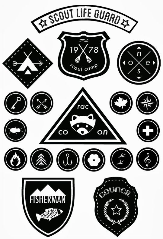 Love these downloadable Scout Badges - very Moonrise Kingdom!  / via poppytalk