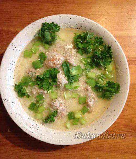 Суп с фрикадельками на кефире   Диета Дюкана