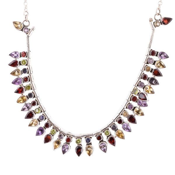 Silver Necklaces – Garnet,Citrine,Amethyst Gems Wedding Necklace Gift – a unique product by IndianCraftPalace on DaWanda