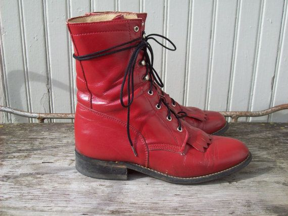 Red Leather Roper Boots Western Ankle Boots Size 5.5 Euro 36 UK 3.5