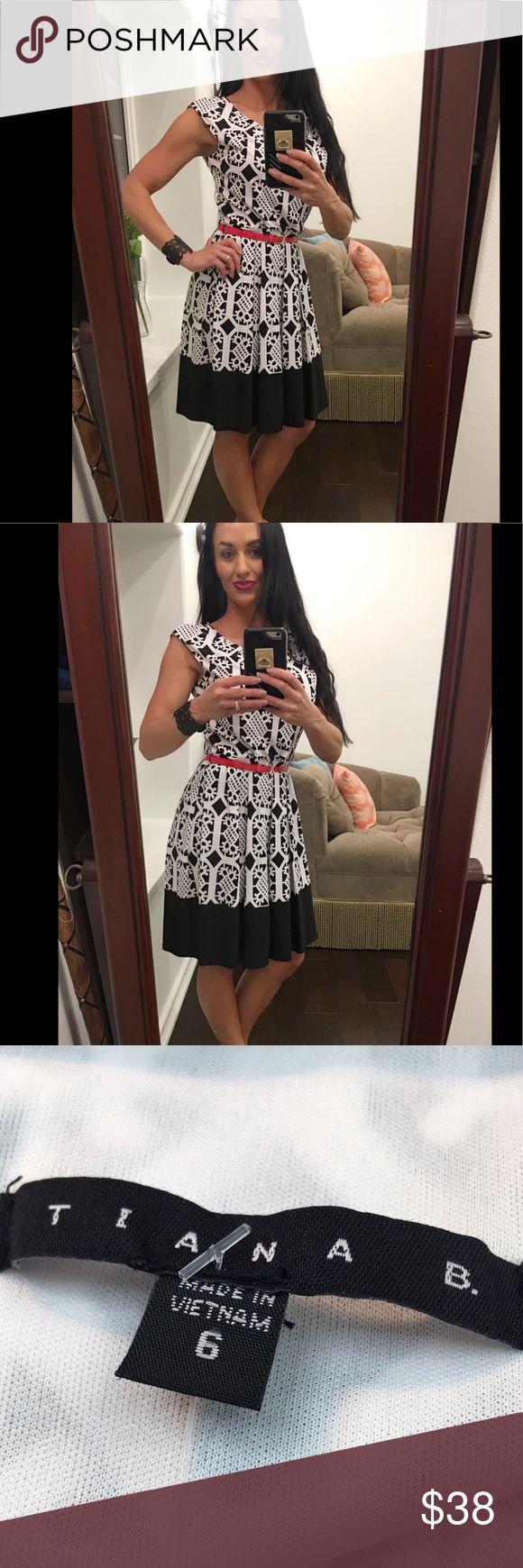 Tiana B. Black and white dress with red belt Tiana B. Black and white dress with red belt a-line size 6 19m-dresses Tiana B Dresses Midi