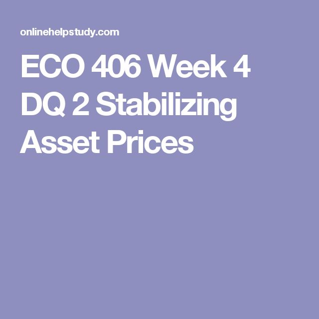 ECO 406 Week 4 DQ 2 Stabilizing Asset Prices