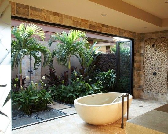 Home decoration, Tropical Bathroom Bathub Open Space Close To Garden: Awesome traditional balinese garden design Home Design Photos