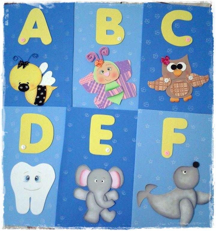 Alfabeto Ilustrado Em Eva Murales Escolares Decoracion De Aulas
