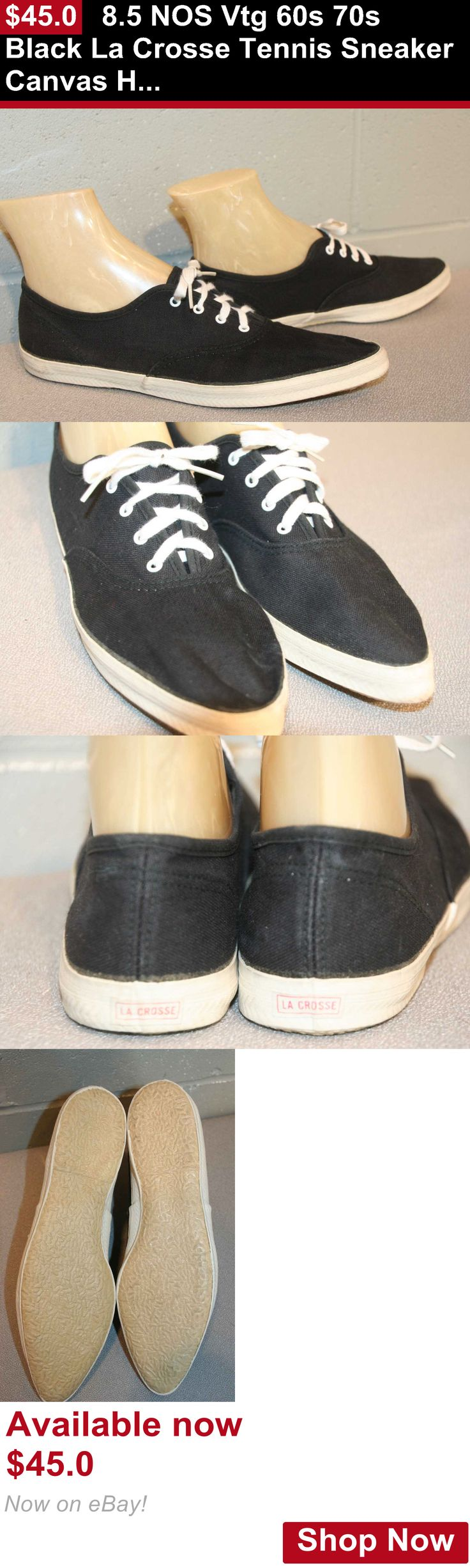 Women vintage clothing and shoes: 8.5 Nos Vtg 60S 70S Black La Crosse Tennis Sneaker Canvas Hipster Pointed Shoe BUY IT NOW ONLY: $45.0