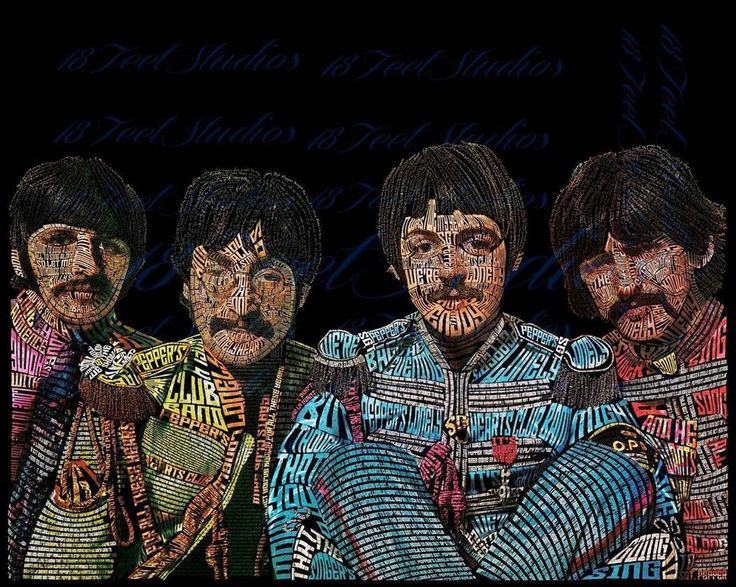 The Beatles Typography Portrait by lilysmom85.deviantart.com on @DeviantArt