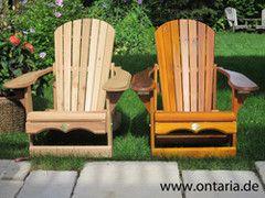 Adirondack-Komfort-Rcliner-Liegstuhl von ONTARIA LTD., gestrichen mit Cetol oder Rot-Zeder natur