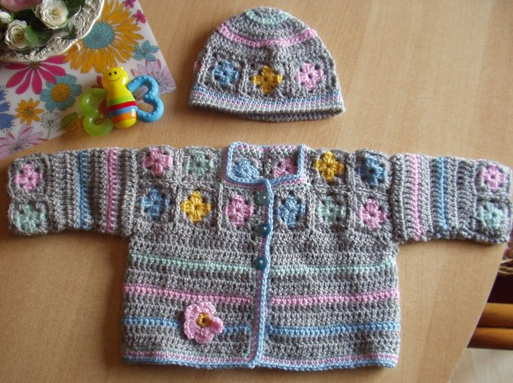 Baby Granny Square Cardi Hat Made Crochet
