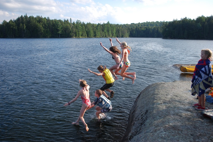 I won honorable mention for this photo in the 2011 Algonquin Outfitters Summer Photo Contest. Joyce and Beecher kids rock diving on Lake Magnetawan.