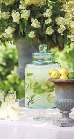 fresh lemonade...kept cold on one of our patios. Perfect for a hot southern day.