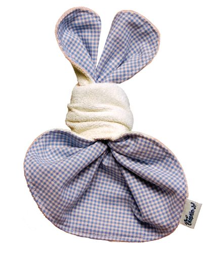 Keptin-Jr Knottiez Rabby Baby  This cute little rabbit is made from a specially shaped cloth – tied with a knot to form the ears, head and body. The Keptin-Jr Knottiez Rabby is a beautiful, simple toy and a hygienic comforter in the Keptin-Jr range. All toys in Keptin Jr's Knottiez collection are made from 100% organic cotton (Oeko-Tex Standard 100).