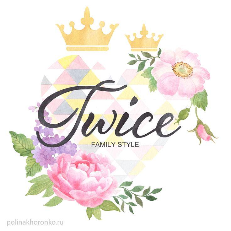 Watercolor logo by Polina Khoronko/ Акварельный логотип #watercolor #familystyle #logo #heart #crowns