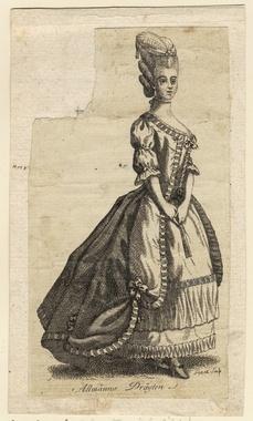 """Gustaf III:s nationella dräkt. """"Allmänna drägten."""" Dam i svenska dräkten. Gravyr av Johan Snack (1756-1790), trol. ca 1780. Nordiska Museet NMA.0054239"""