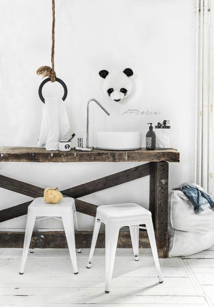 The Bathroom just for the Kids?       Yessss please and with Panda theme! Wild and Soft  Panda head finishing touch.    Gymnastic ring...