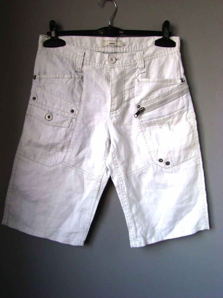 "JEANS PANTALONI corti uomo ""CELIO"" trousers man CREMA BERMUDA SHORTS w 33 46 L"