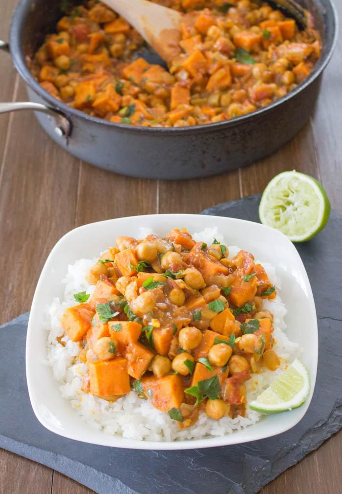This Coconut Curried Sweet Potato & Chickpea Stew makes an easy, healthy, and hearty dinner any night of the week.