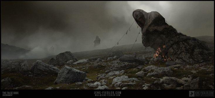 The false gods, Jens Fiedler on ArtStation at https://www.artstation.com/artwork/lXrQO
