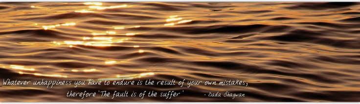 Whatever unhappiness you have to endure is the result of your own mistakes, therefore 'The fault is of the sufferer' ~ Dada Bhagwan (Founder of Akram Vignan) ...Read more www.dadabhagwan.o...