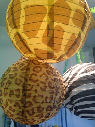 Animal print paper lanterns - perfect for the zoo or safari classroom theme!