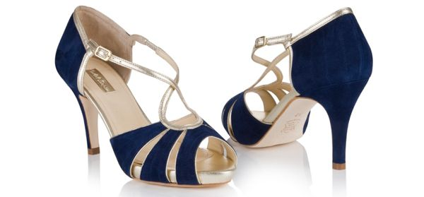Navy blue and gold wedding shoes.  From the 2014 collection of wedding shoes by Rachel Simpson http://www.rachelsimpsonshoes.co.uk/.